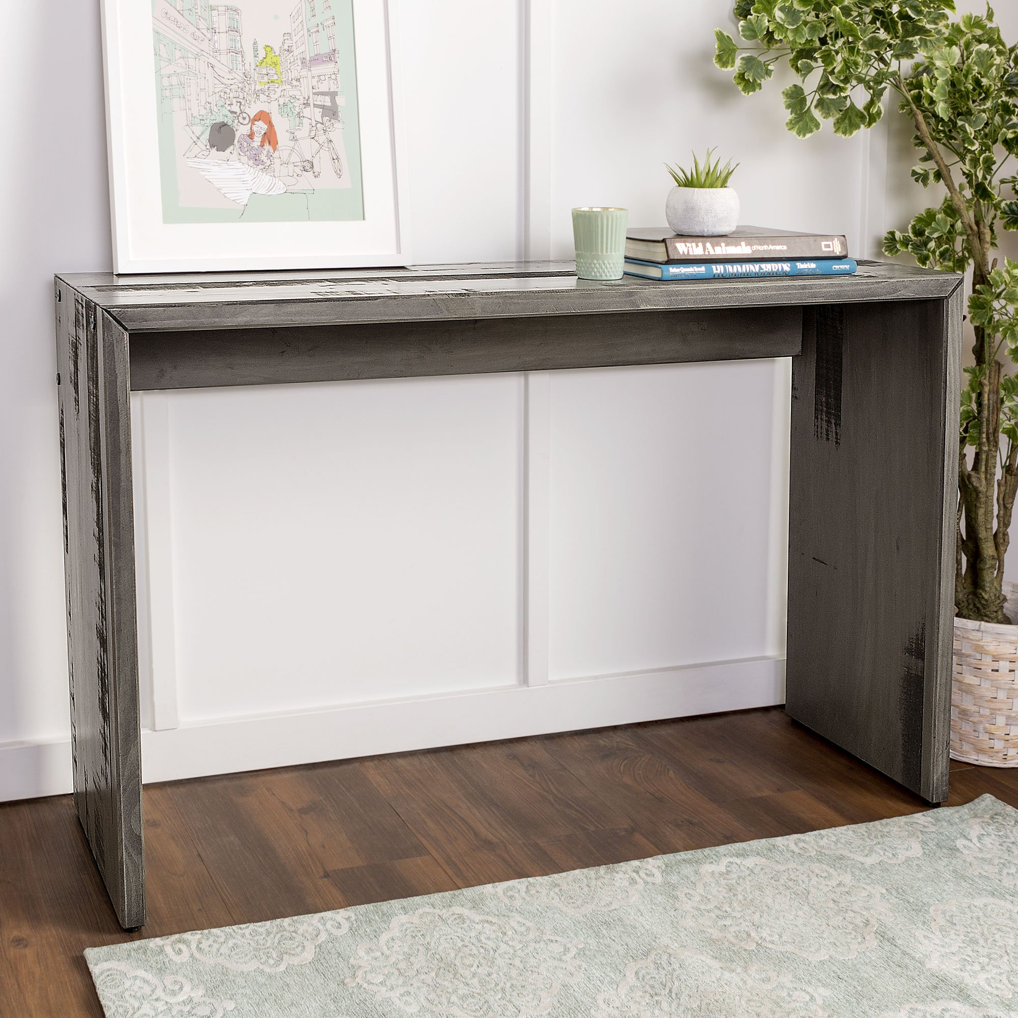 WE Furniture Reclaimed Wood Entry Table in Gray - 48''