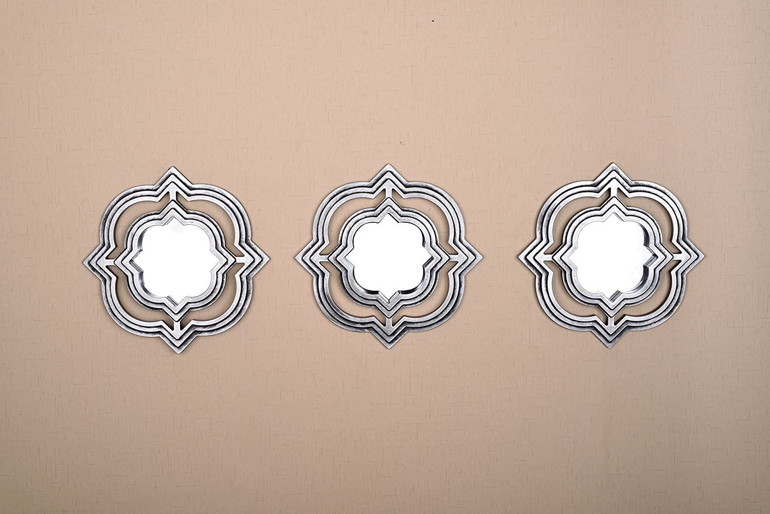 All American Collection New 3 Piece Decorative Mirror Set, Wall Accent Display (Silver Moroccan)