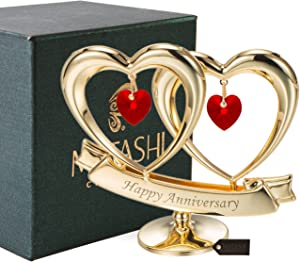 Matashi 24K Gold Plated Happy Anniversary Double Heart Figurine Ornament with Genuine Crystals (Red Crystal) - Great Gift for Husband Wife Mother Father, Cake Topper, Wedding Vows, Romantic Gifts