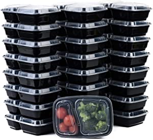 [50Pack] 2 Compartment Microwavable Meal Prep Containers with Lids 38 oz, Reusable Bento Box, Food Storage Containers | BPA Free | Stackable | Lunch Boxes, Microwave/Dishwasher/Freezer Safe