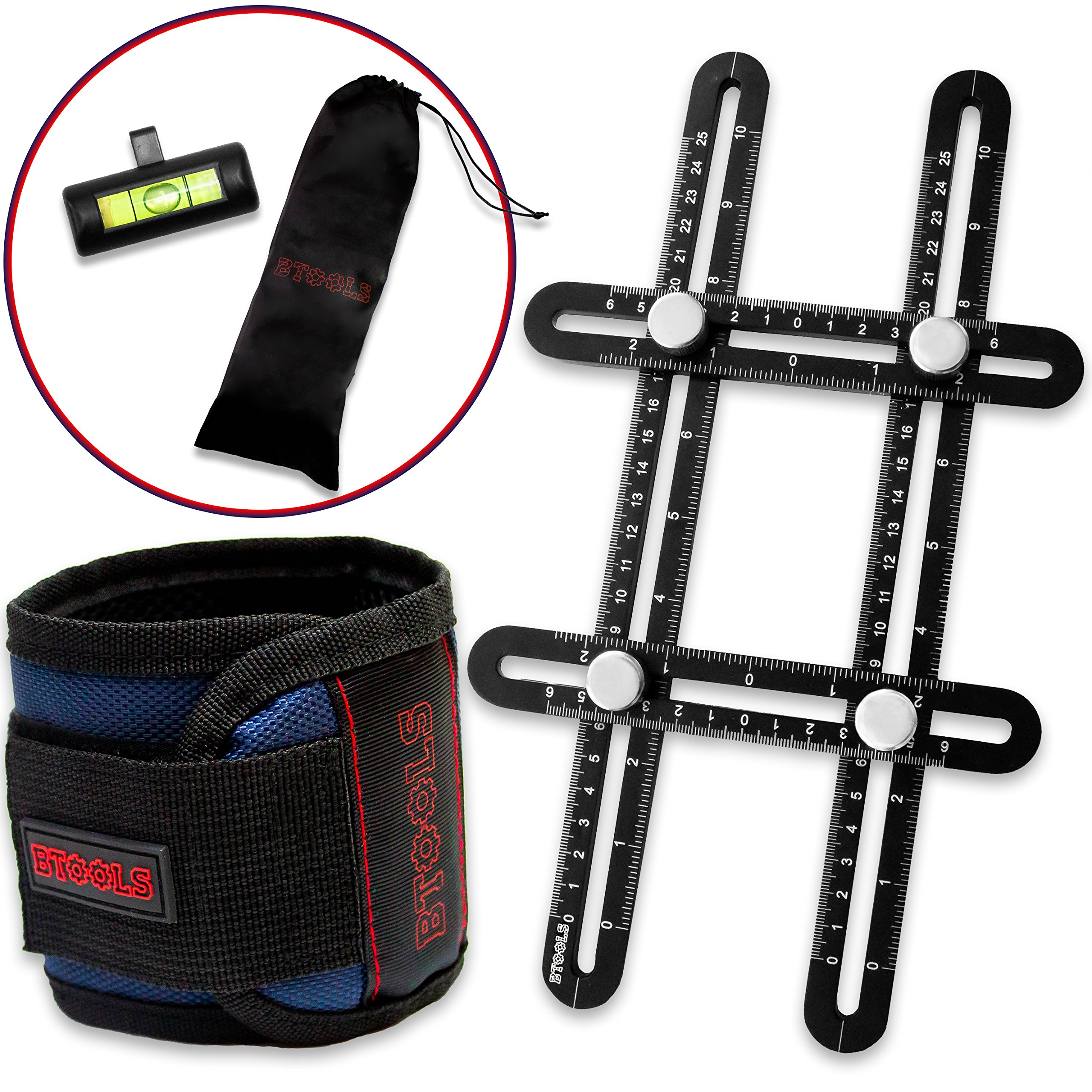 BTOOLS Template tool - Magnetic Wristband for holding screws - Multi Angle Measuring Ruler – Angleizer Template tool –Upgraded Aluminum Alloy - 6 Super Powerful Magnets w/Instruction Manual- gift tool