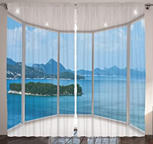 "Ambesonne Landscape Curtains, Seascape Beach Seaside Hills Trees View from Window Picture Tropical Panorama, Living Room Bedroom Window Drapes 2 Panel Set, 108"" X 84"", Azure White"