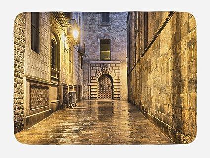 Amazon.com: Lunarable Gothic Bath Mat, Dark Stone Ancient Street ...