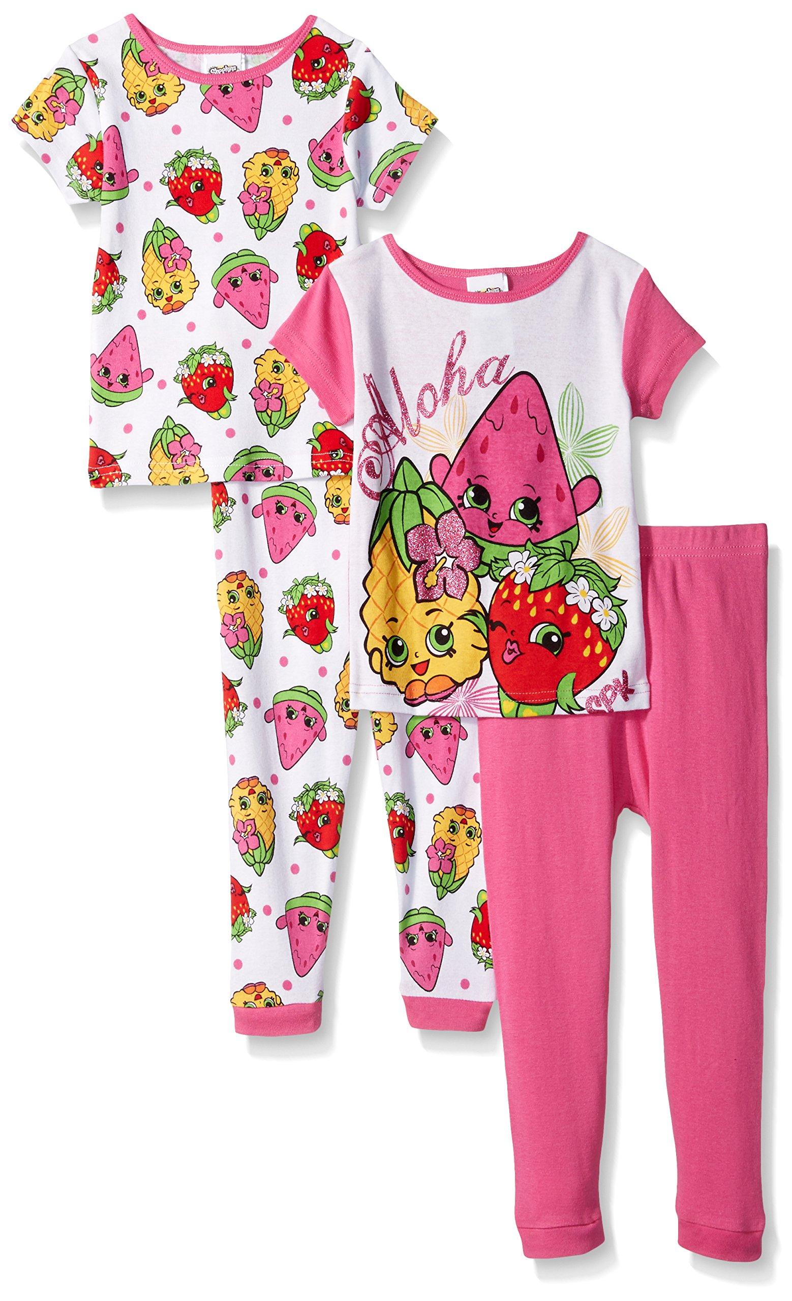Shopkins Little Girls Keep on Shopping 4 Piece Cotton Pajamas Set, 10