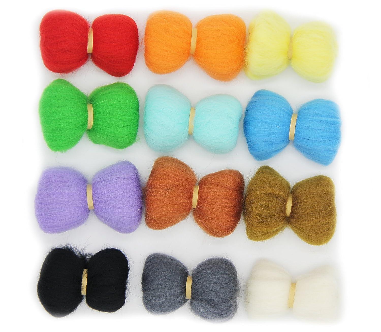 4OZ Needle Felting Wool Roving - Felting Wool Fibre DIY Craft Felting Material Kit 24 Colors -6 Months Free Return 2 Years Warranty FLORAVOGUE WoolR-24C-01