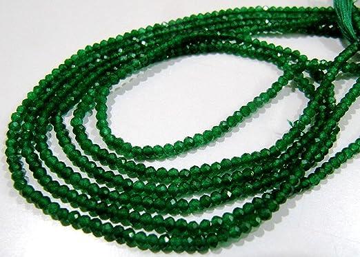 80002492-795 3.5x2.5mm Green Garnet Gemstone Green Fine Faceted Rondelle Loose Beads 15.5 inch Full Strand