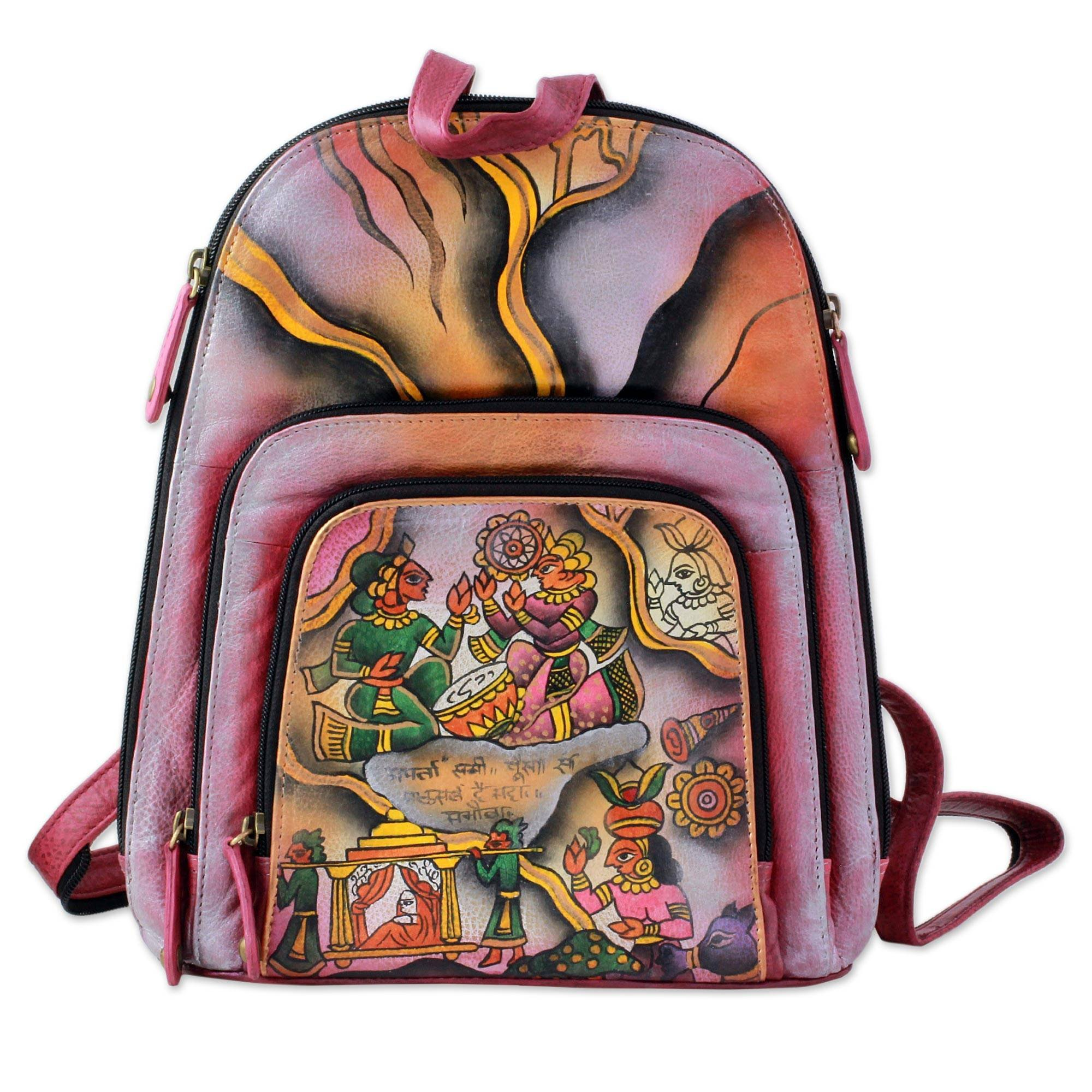 NOVICA Multicolor Leather Backpack, 'Royal Court' by NOVICA