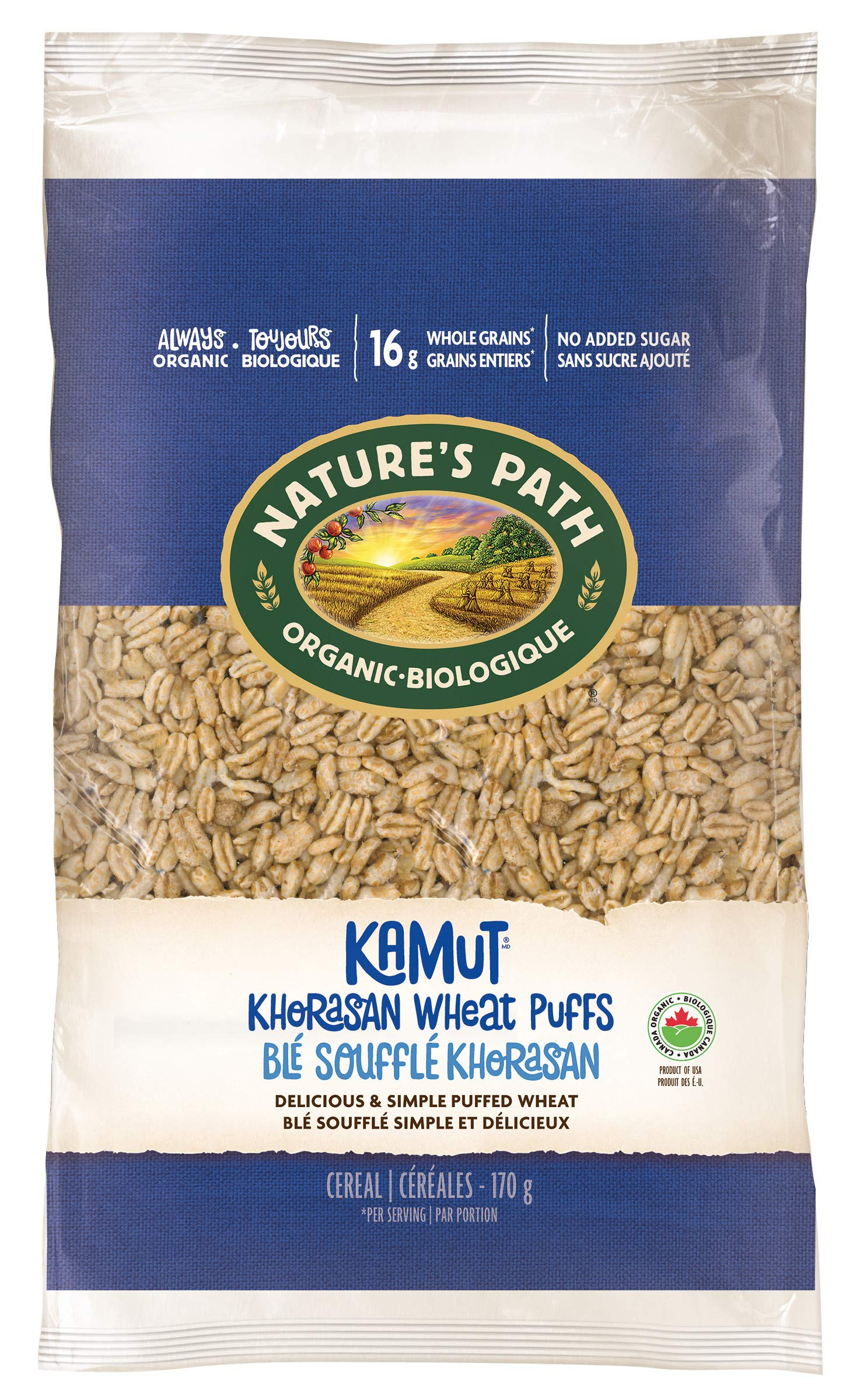 Nature's Path KAMUT Khorasan Wheat Puffs Cereal, Healthy, Organic, Gluten-Free, Low-Sugar, 6 Ounce Bag (Pack of 12) by Nature's Path