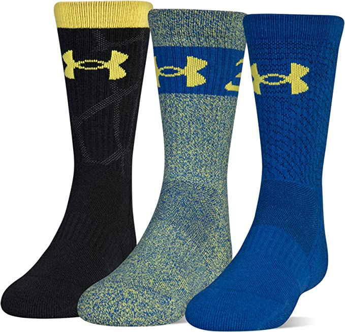 4 Pair Under Armour Youth Boys Performance Crew Socks Sz Large 1-4 Blue Black