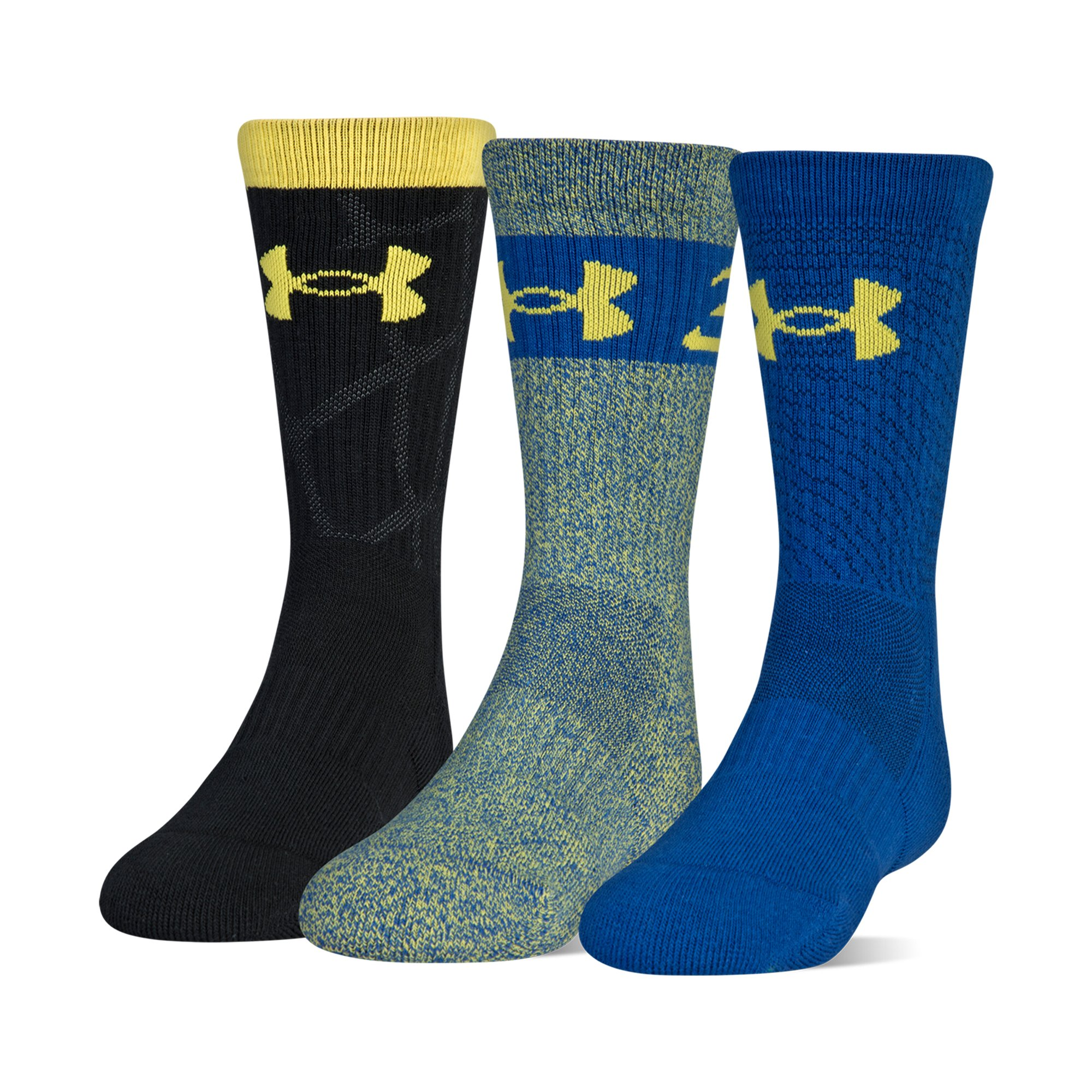 Under Armour Phenom Sc30 2.0 Crew Socks, 3 Pairs, Royal Assorted, Youth Large by Under Armour