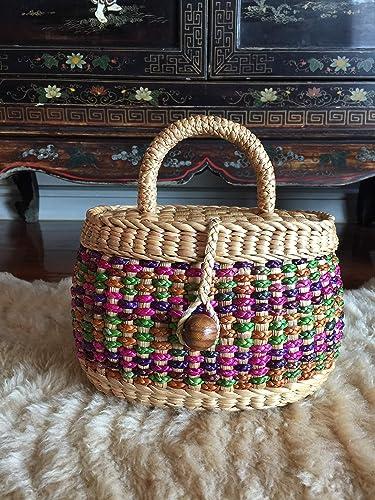 32d1bf284fe Amazon.com: Handwoven Straw Purse,Straw Bag Tote,Mini Straw Tote Bag,Straw  Basket Bag,Straw Bag,Small Straw Basket Purse,Straw Tote Handbag,Straw  Bucket ...