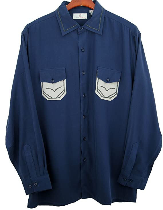Button Front Camp Shirt Long Sleeve Retro Style  AT vintagedancer.com