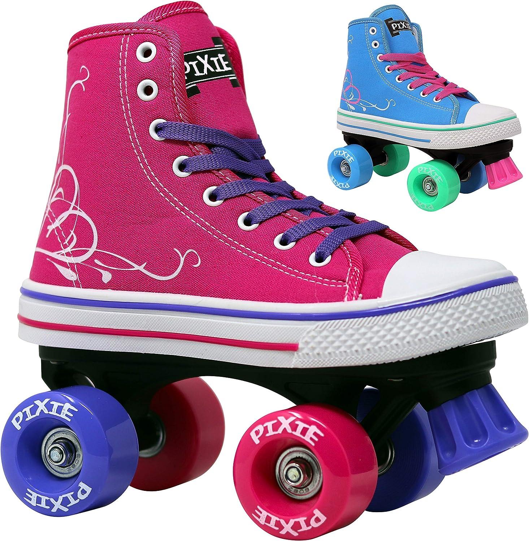 Lenexa Roller Skates for Girls Pixie Kid s Quad Roller Skates with High Top Shoe Style for Indoor Outdoor Skating Durable, Easy to Skate, Made for Kids