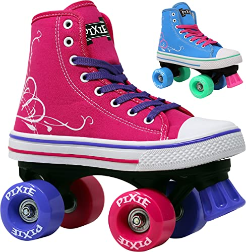 Lenexa Roller Skates for Girls Pixie Kid s Quad Roller Skates with High Top Shoe Style for Indoor Outdoor Skating Durable, Easy to Skate, Made for Kids