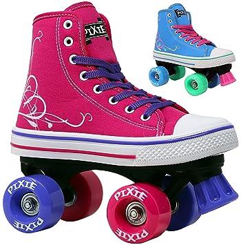 HYPE Patines Roller para niñas Pixie Kids Quad Roller Patines con Top Top Estilo Zapato para