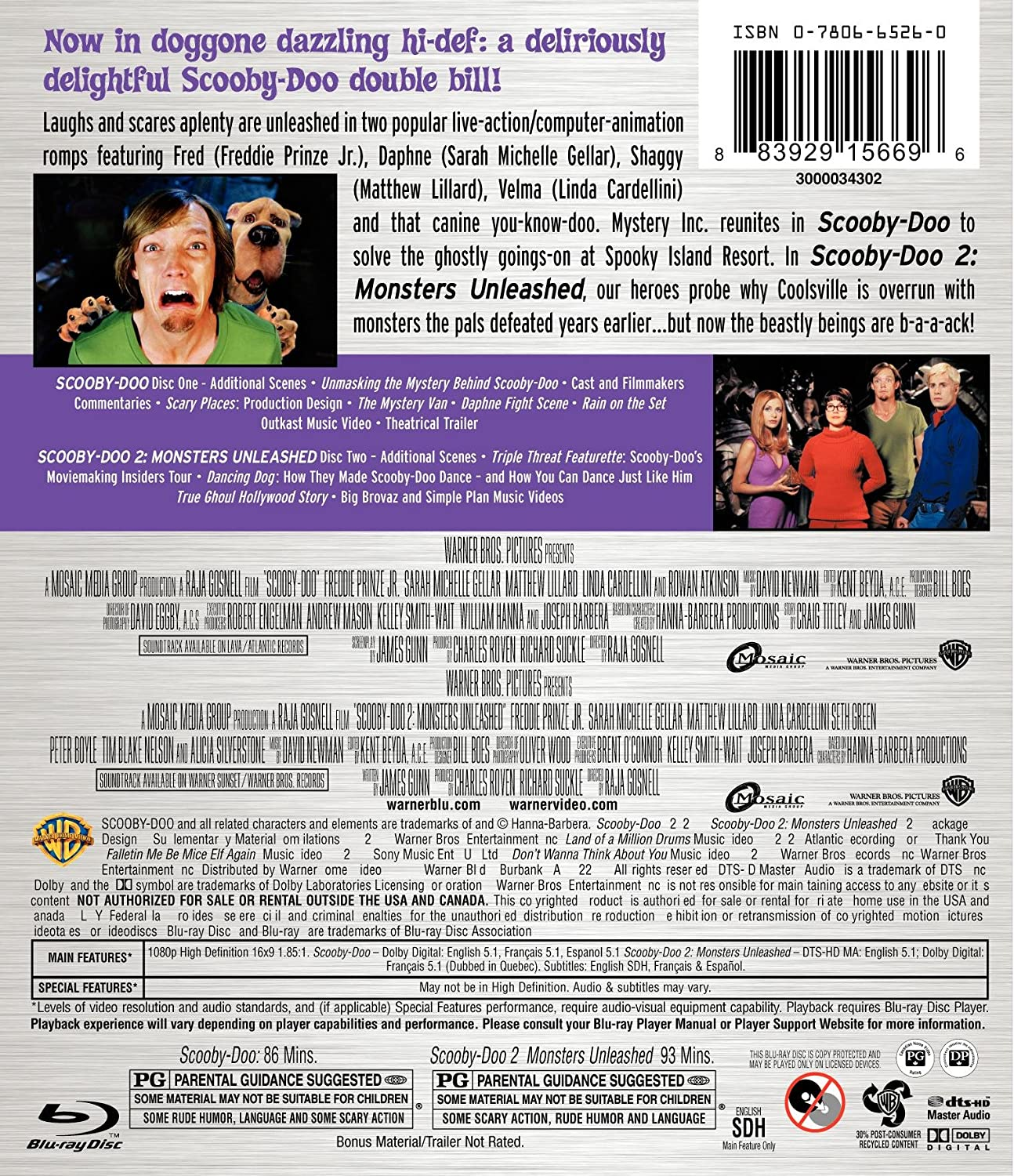 Amazon Com Scooby Doo 1 2 Collection Family Double Feature Blu Ray Freddie Prinze Jr Sarah Michelle Gellar Matthew Lillard Linda Cardellini Movies Tv