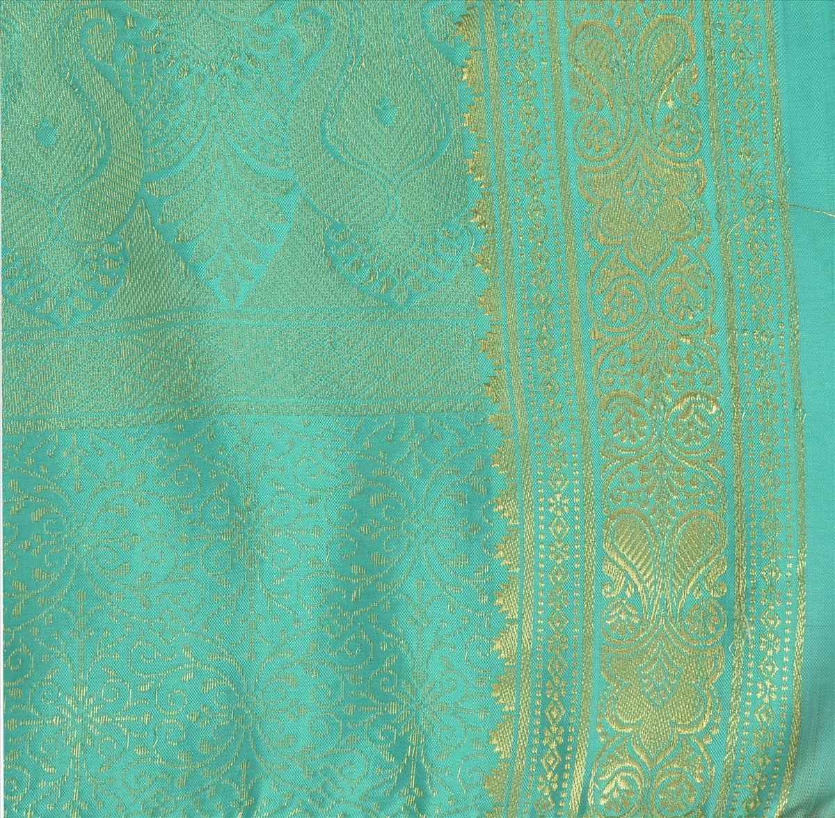 Skirts 'N Scarves Women's Art Silk Brocade Saree with Blouse Piece (Green)