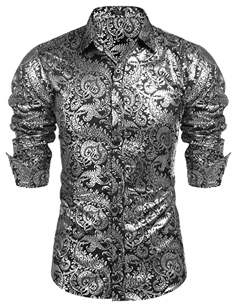 Amazon.com: COOFANDY - Camisas de lujo para hombre, diseño ...