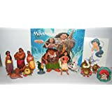Disney Moana Movie Deluxe Figure Toy Set of 14 with Figures, a sparkle Ring and Tattoo Sheet Featuring the newest Disney Princess Moana, Demigod Maui and Many More! by Princess Toy