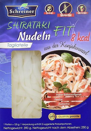 Schreiner Shirataki Tagliatelle sin Gluten - Paquete de 4 x 390 gr - Total: 1560 gr