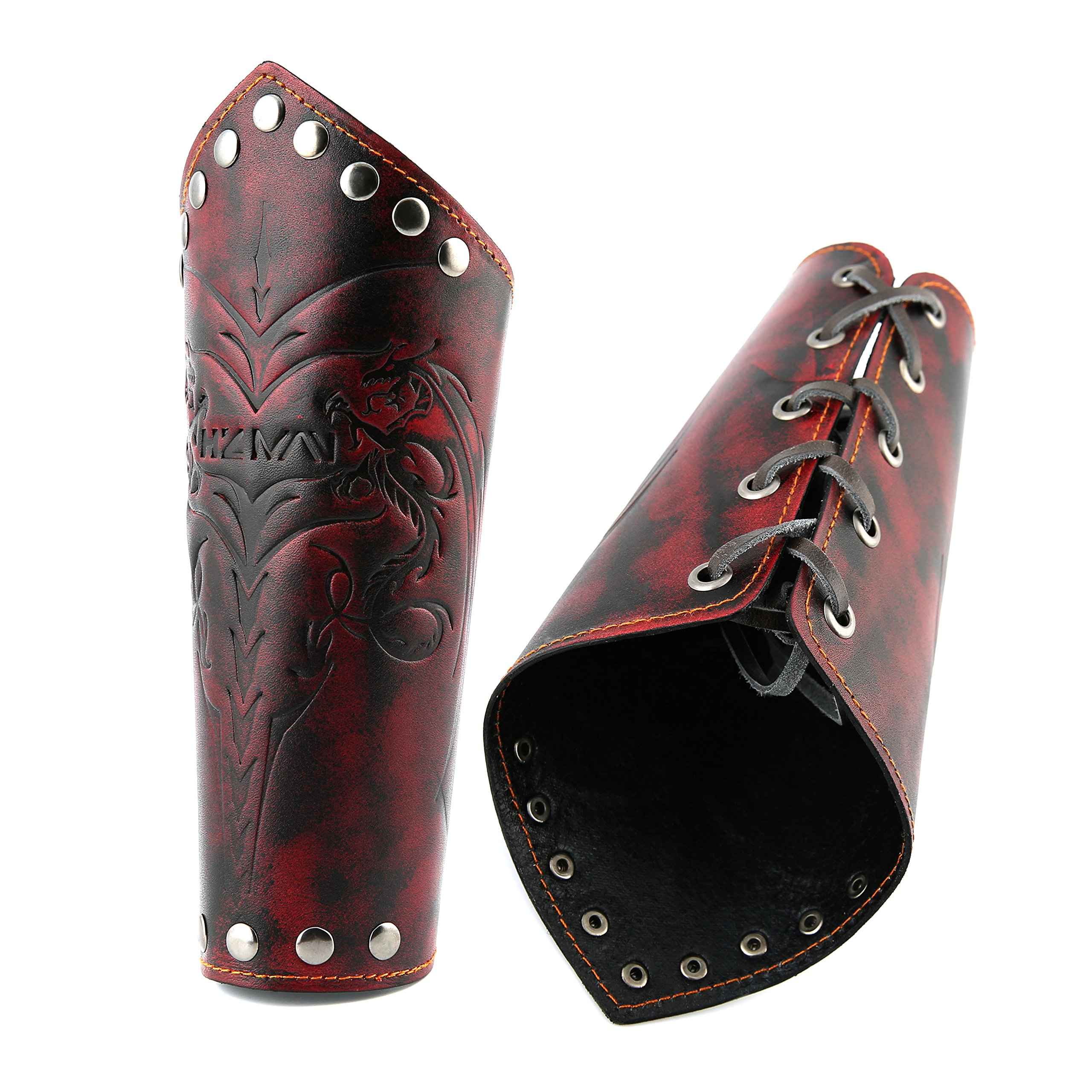 HZMAN Medieval Bracers Dragon Knight Genuine Leather Gauntlet Wristband Wide Bracer Arm Armor Cuff (Crimson)