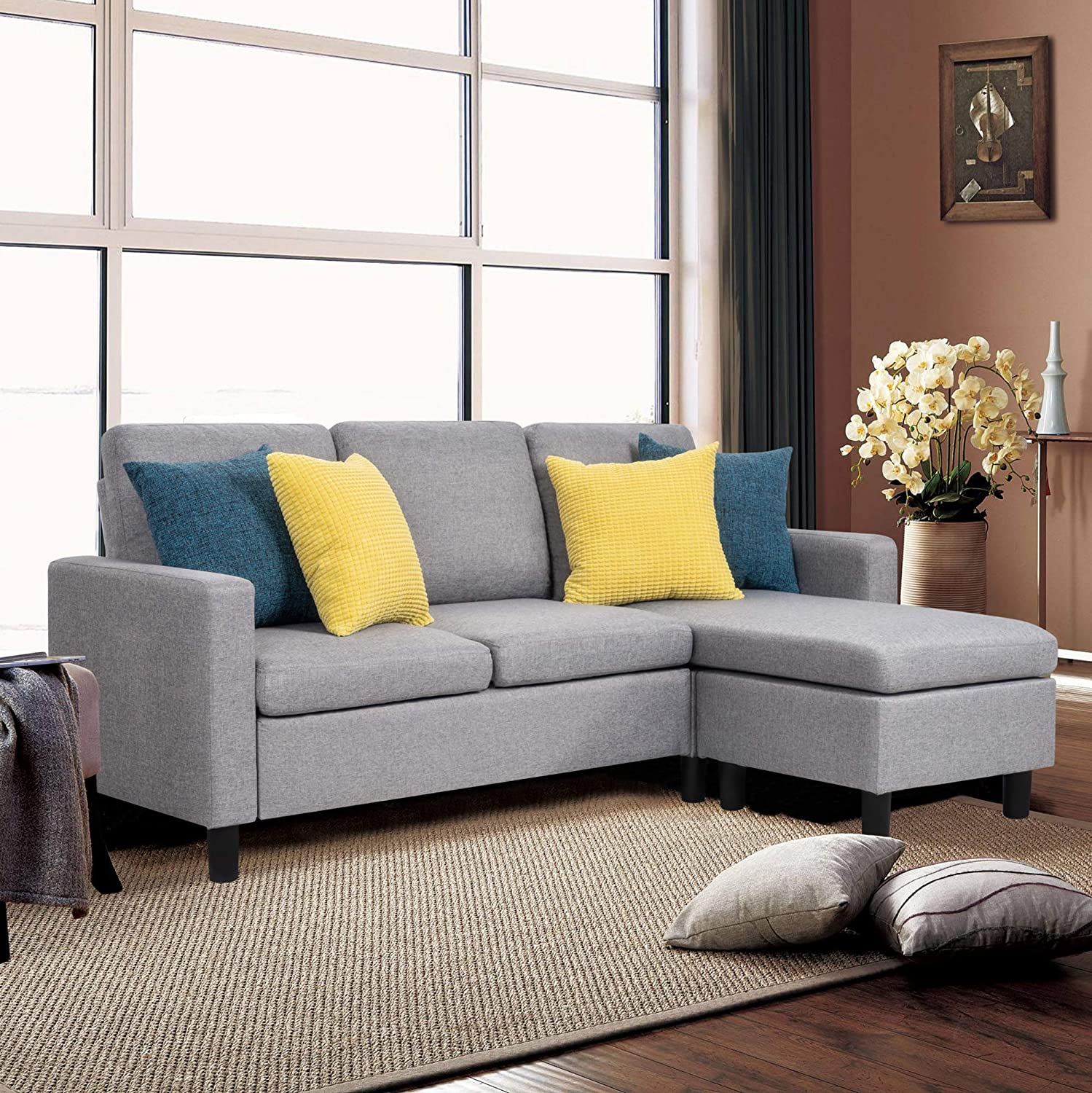 JY QAQA Sectional Sofa Couch Convertible Chaise Lounge, Modern Sofa Set for  Living Room, L-Shaped Couch with Linen Fabric for Small Space, Grey
