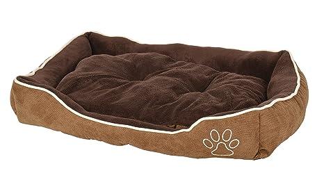 ts-ideen Cama Colchón Almohada para perro y gato 75x55 en suave pana color cappuccino
