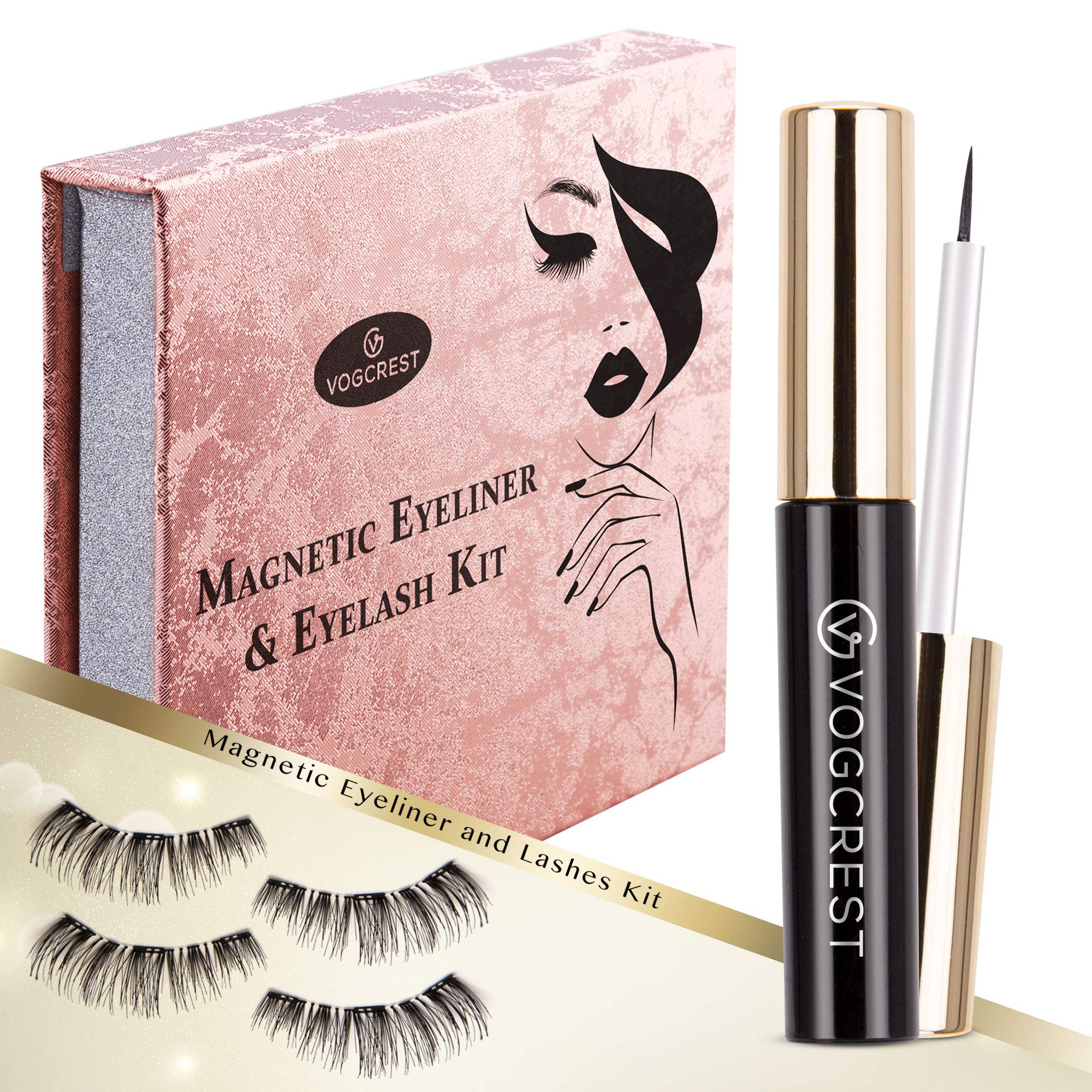 Magnetic Eyeliner Eyelashes Kit, Magnetic Lashes With Eyeliner ,2 Pairs 3D Reusable Fake Eyelashes Set
