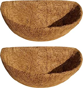 APlus Coco Liners for Hanging Basket Planters, 2PCS 14 Inch Half Round Coconut Planter Liners for Garden Flower Pot