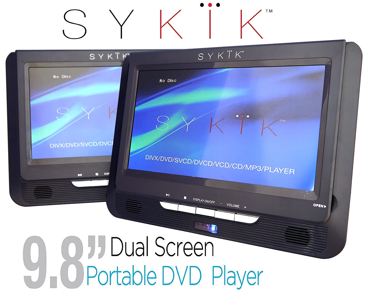 "Sykik 9.8"" Dual screen portable DVD player with built-in rechargeable  battery. For"