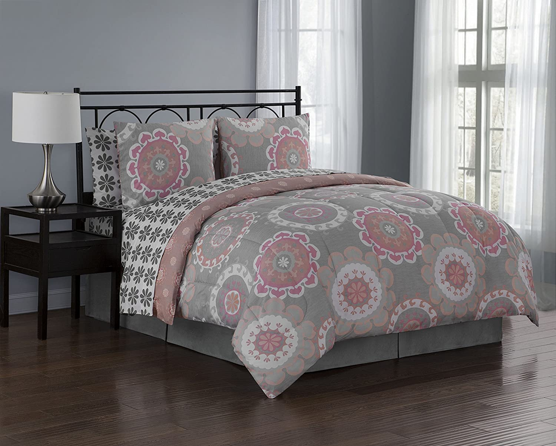 Avondale Manor Elsa 8-Piece Comforter Set, King, Coral