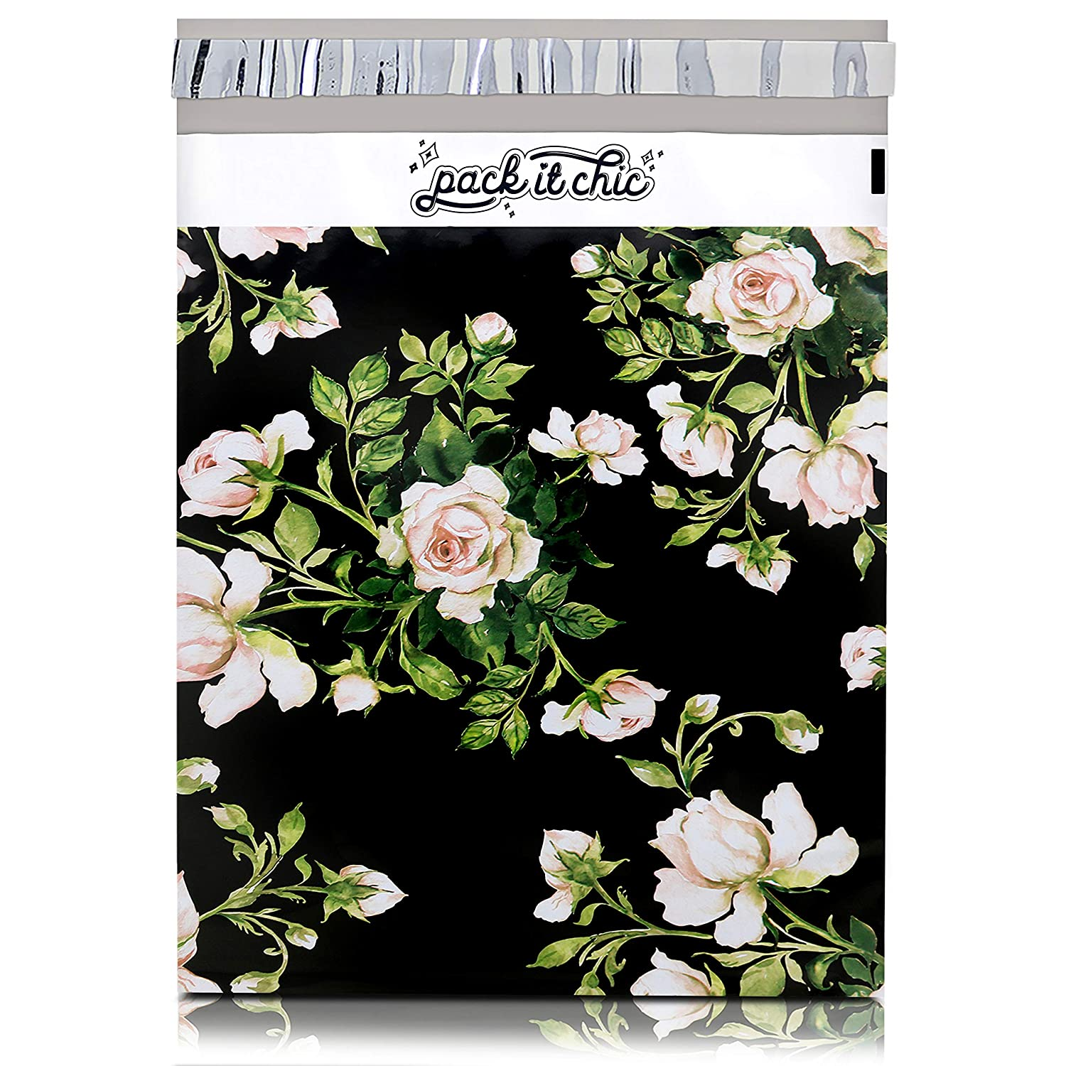 Pack It Chic - 10X13 (100 Pack) Floral Pattern Poly Mailer Envelope Plastic Custom Mailing & Shipping Bags - Self Seal (More Designs Available)