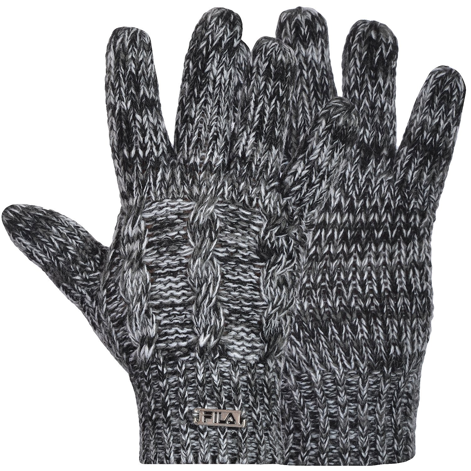 Fila Mens Womens Cable Knit Chunky Knitted Winter Warm Gloves