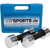 ScSPORTS 5 kg Hantelset Kurzhantel-Set mit 2X Kurzhantelstange, Hantelscheiben Chrom, Komplett zerlegbar im Koffer, Blau, Schwarz, Orange, Pink