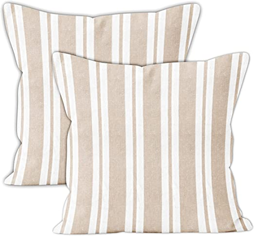 Encasa Stripes Farmhouse Square Throw Pillow 20 x 20 Inch Roma Red