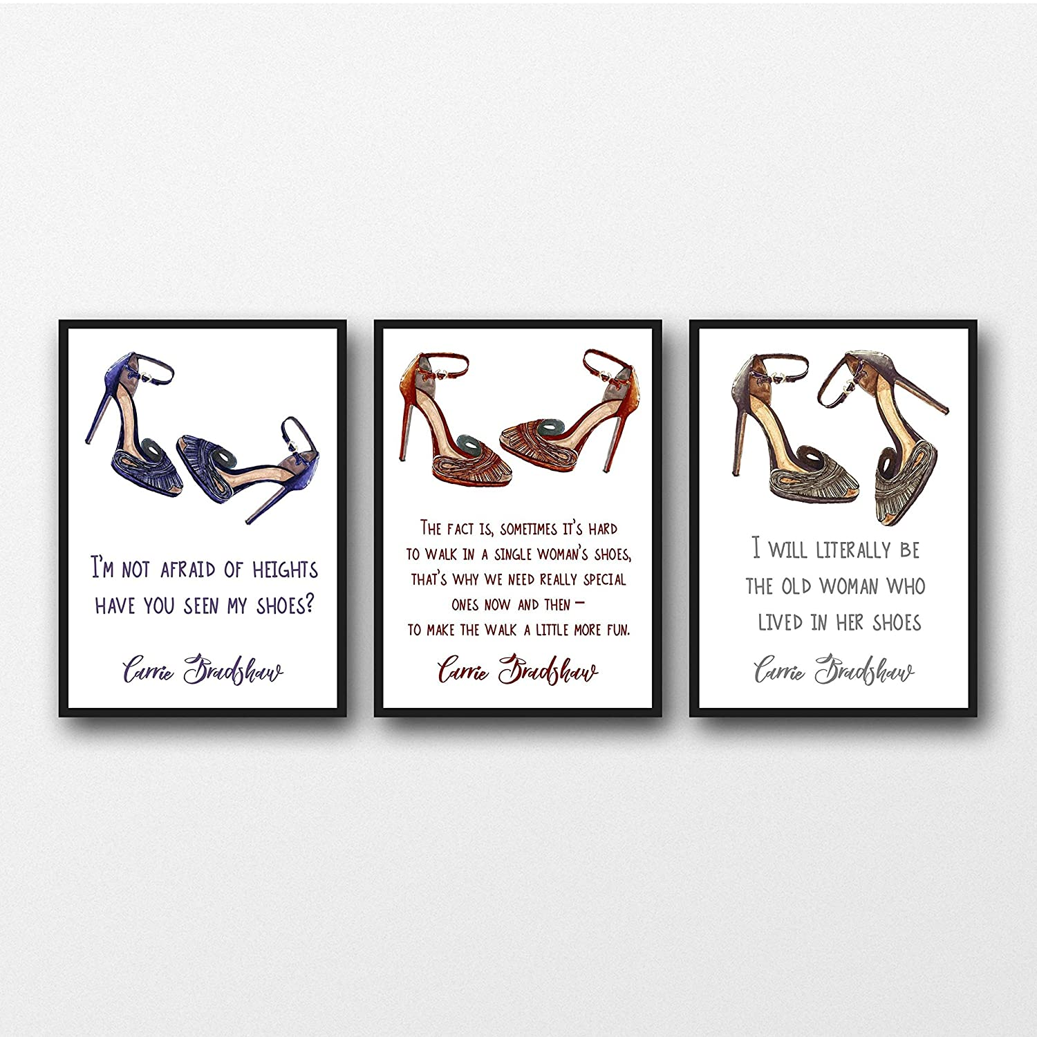 Amazon.com  Set of 3 Carrie Bradshaw (Sex and the City) Shoe Quotes  Unframed Prints  Handmade 4de6d823f674