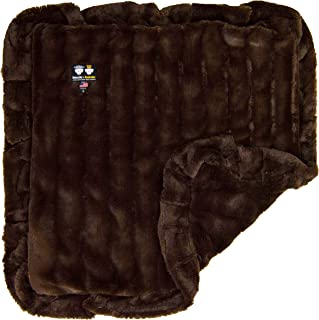 product image for Bessie and Barnie Godiva Brown (Ruffles) Luxury Ultra Plush Faux Fur Pet, Dog, Cat, Puppy Super Soft Reversible Blanket (Multiple Sizes)