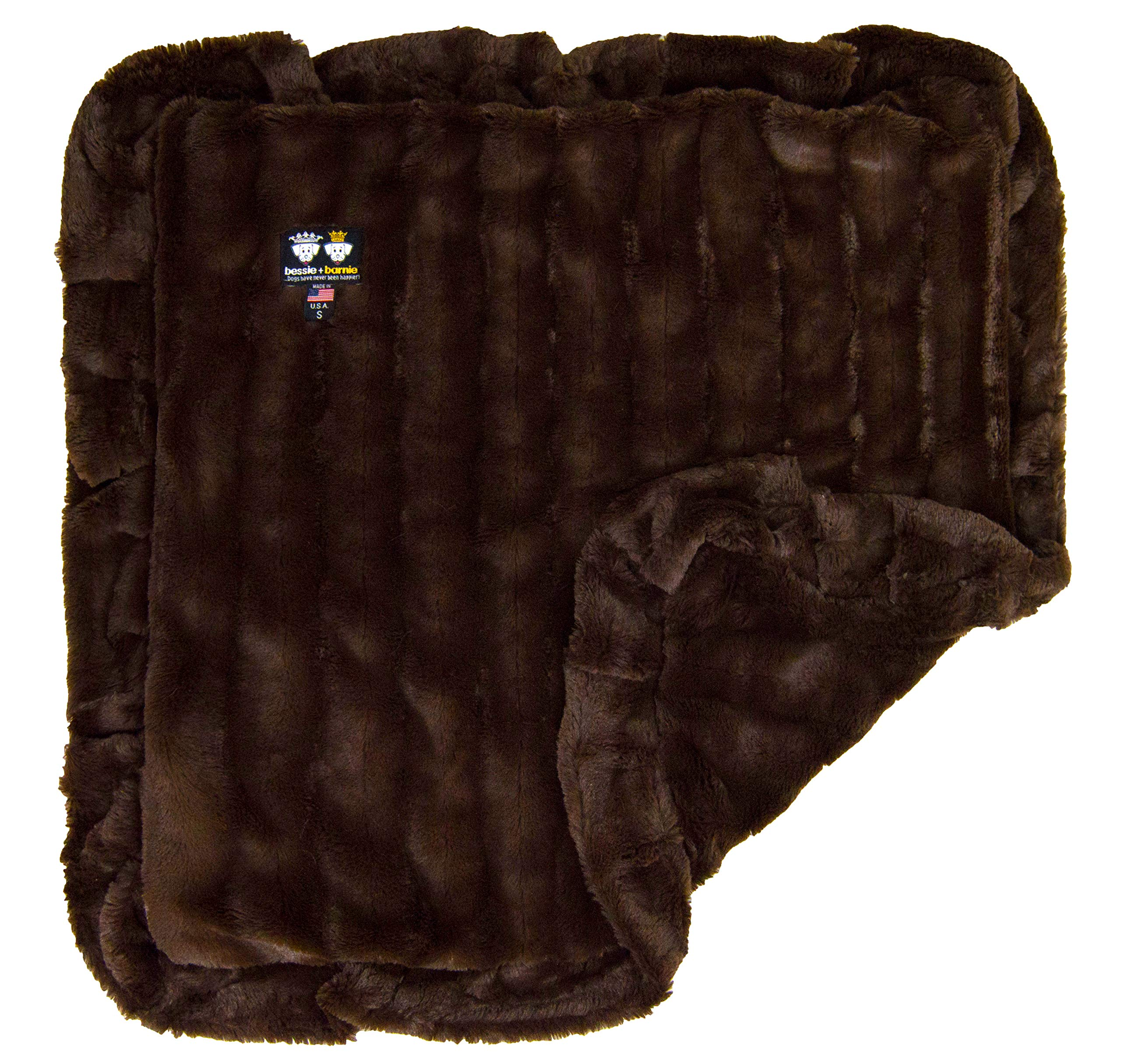 BESSIE AND BARNIE Godiva Brown (Ruffles) Luxury Ultra Plush Faux Fur Pet, Dog, Cat, Puppy Super Soft Reversible Blanket (Multiple Sizes)