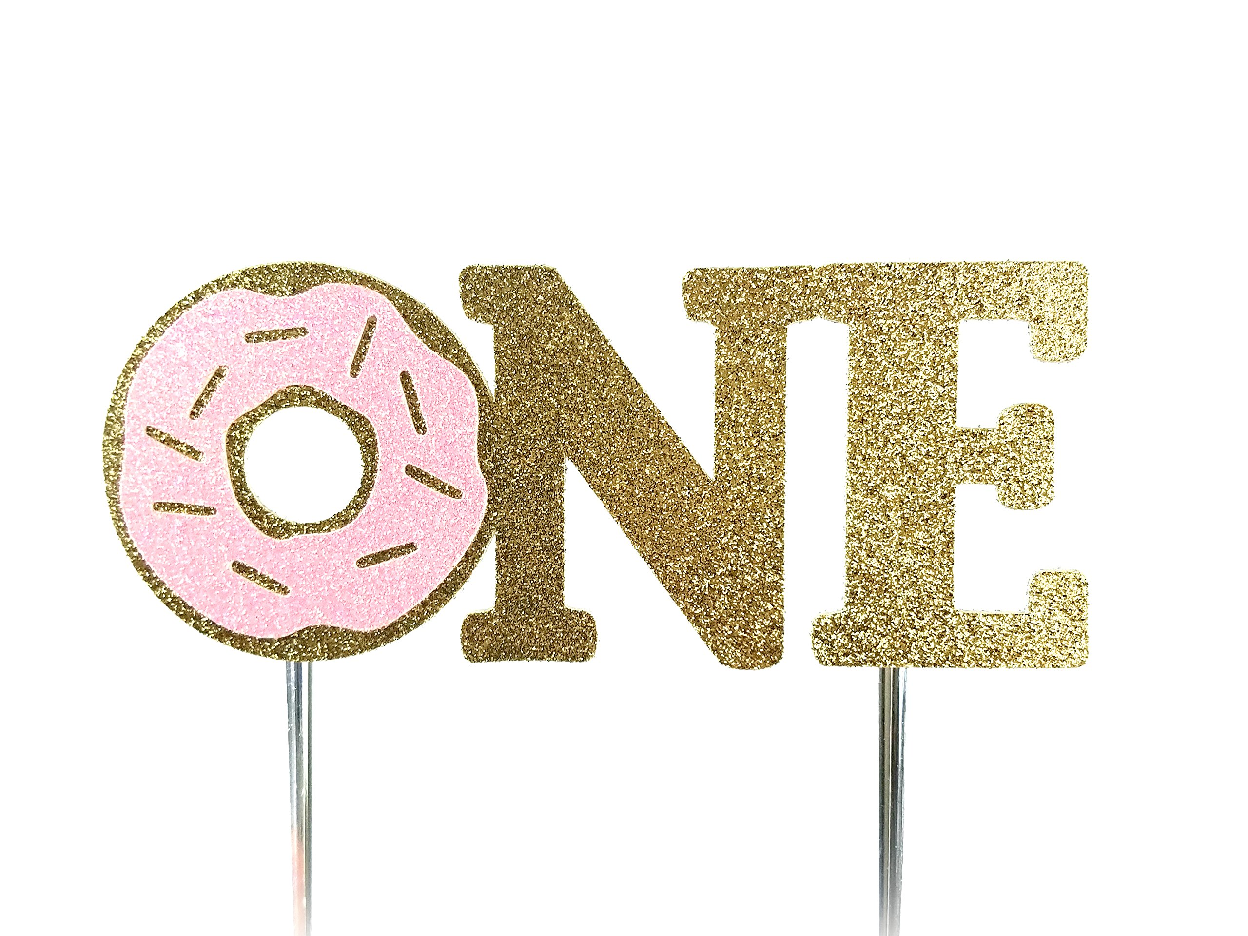 CMS Design Studio Handmade 1st First Donut Birthday Cake Topper Decoration - one - Made in USA with Double Sided Gold Pink Glitter Stock (Pink)