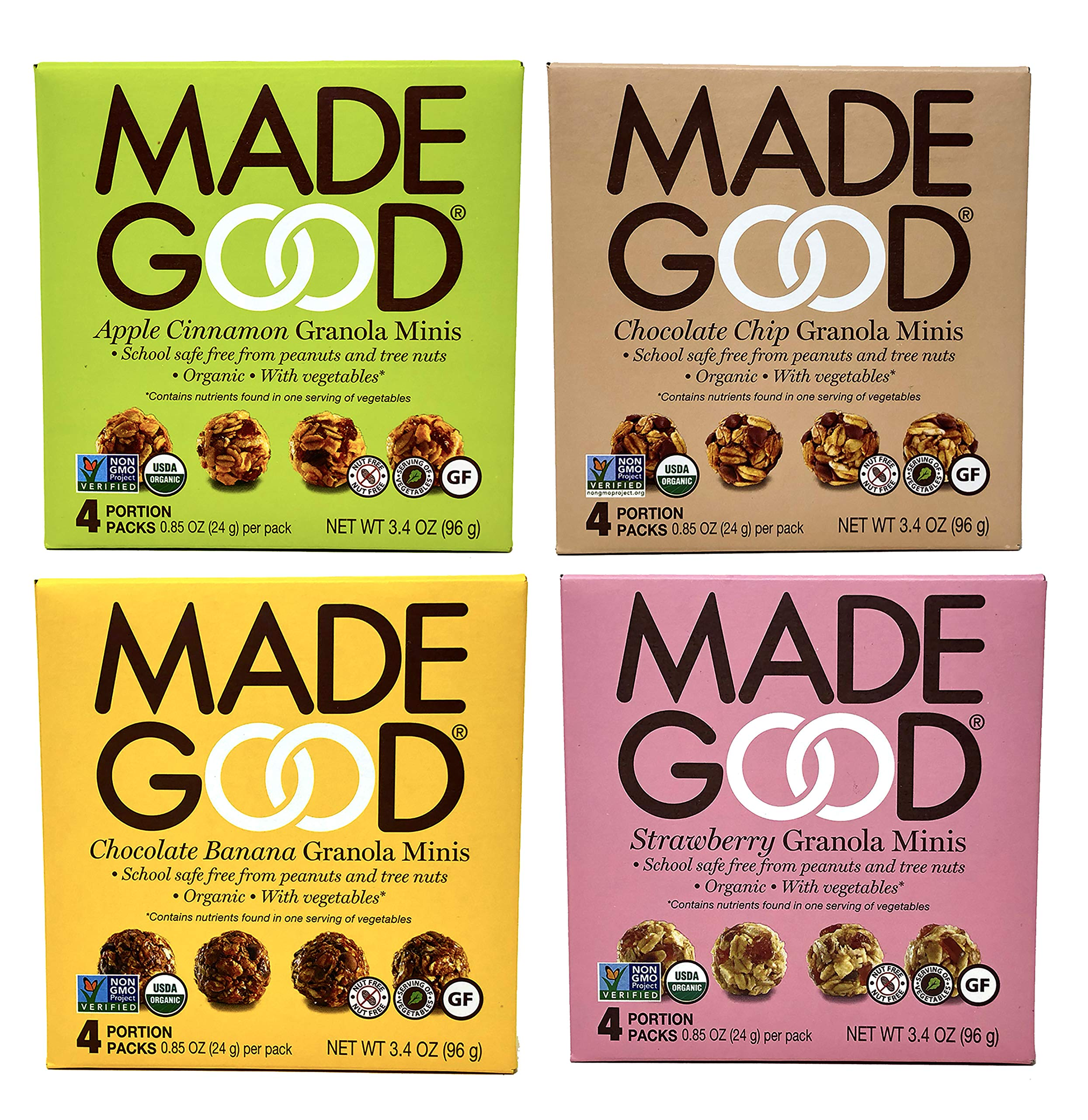 Made Good Organic Granola Minis - Variety Pack of 4 Flavors -Tree-Nut and Peanut-Free, Gluten-Free, Vegan, Kosher (4 Portion Packs Per Flavor) by MadeGood Snacks