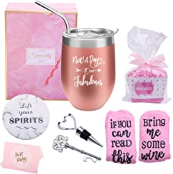 Not a Day Over Fabulous Wine Tumbler + Socks Gift Set