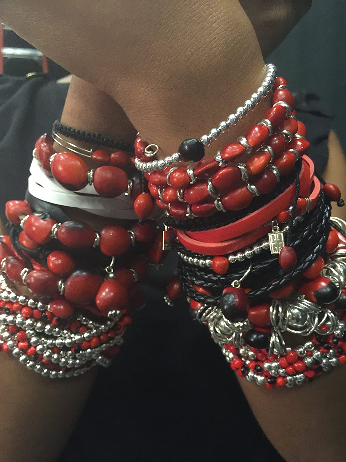 Handmade Jewelry by Evelyn Brooks Huayruro Red Seeds Flower Charm Peruvian Gift Bracelet for Women