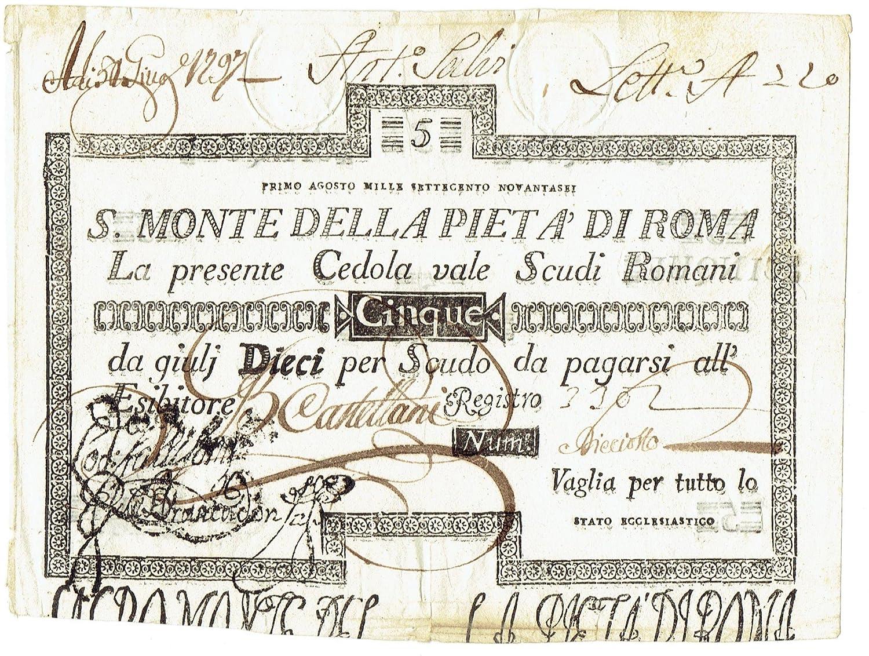Cartamoneta  5 Scudi CEDOLA Sacro Monte della PIETÀ di Roma 01 08 1796 BB BB+