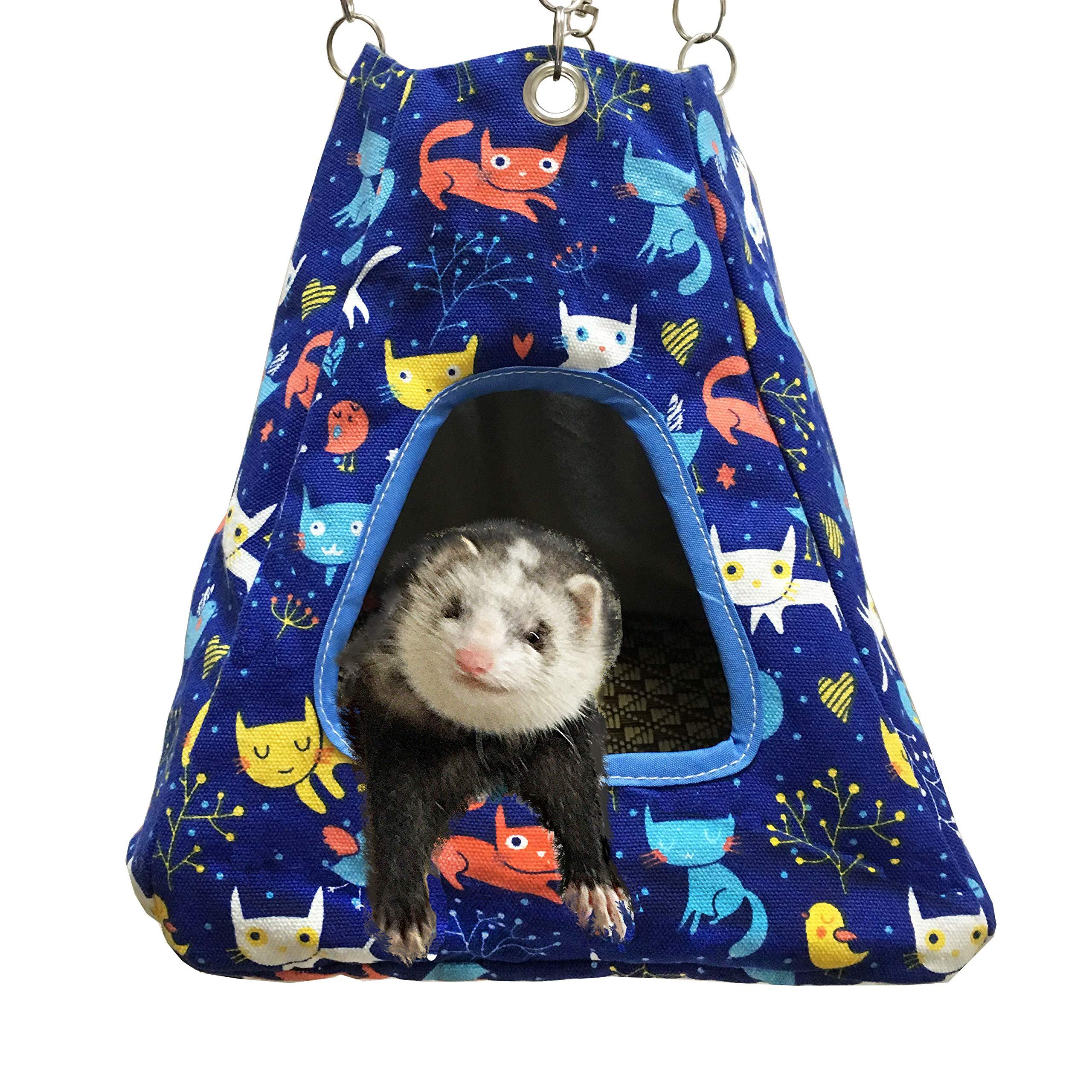 FULUE Small Animal Ferret Rat Guinea Pig Degu Gerbil Mice Hamster Chincilla Hammock Sleeper Cage Accessories (2in1 Blue Tent)