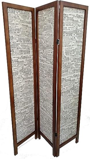 Mueble Gestion Biombo de Madera y Tela Excellent Nogal: Amazon.es: Hogar