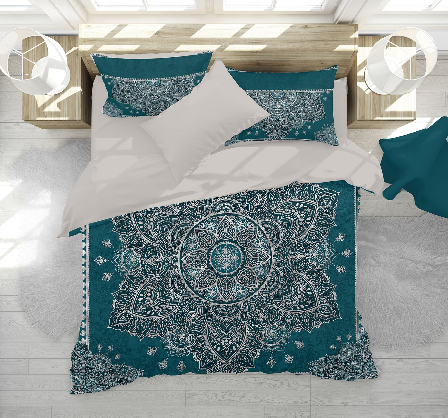 Boho Mandala Bedding, Dark Teal Graphite Silver Mandala Duvet Cover Set, Henna Mehendy Mandala Quilt Cover Set, Boho Bedspread (Black, Twin (68