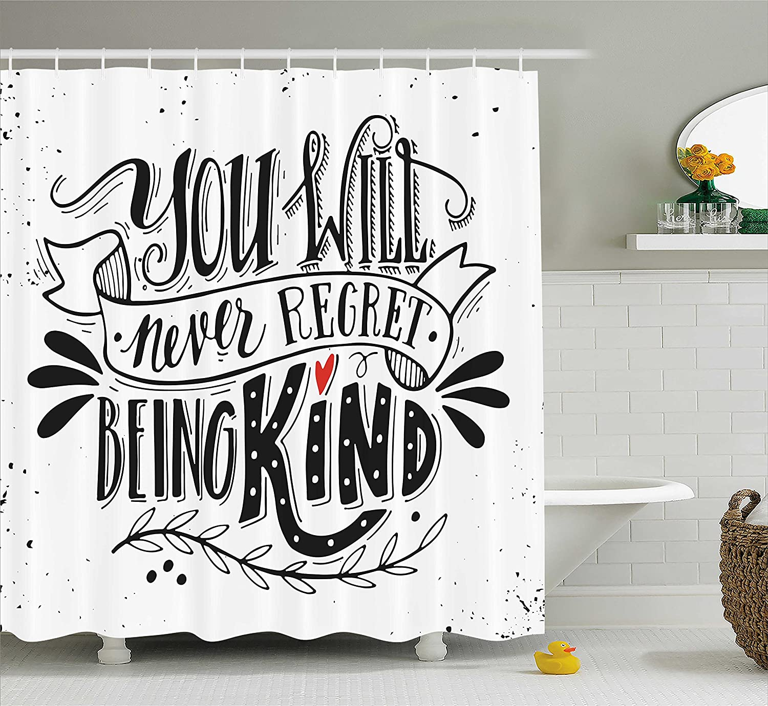 Ambesonne Vintage Shower Curtain You Will Never Regret Being Kind Quote Hand Drawn Lettering Inspirational Fabric Bathroom Decor Set With Hooks