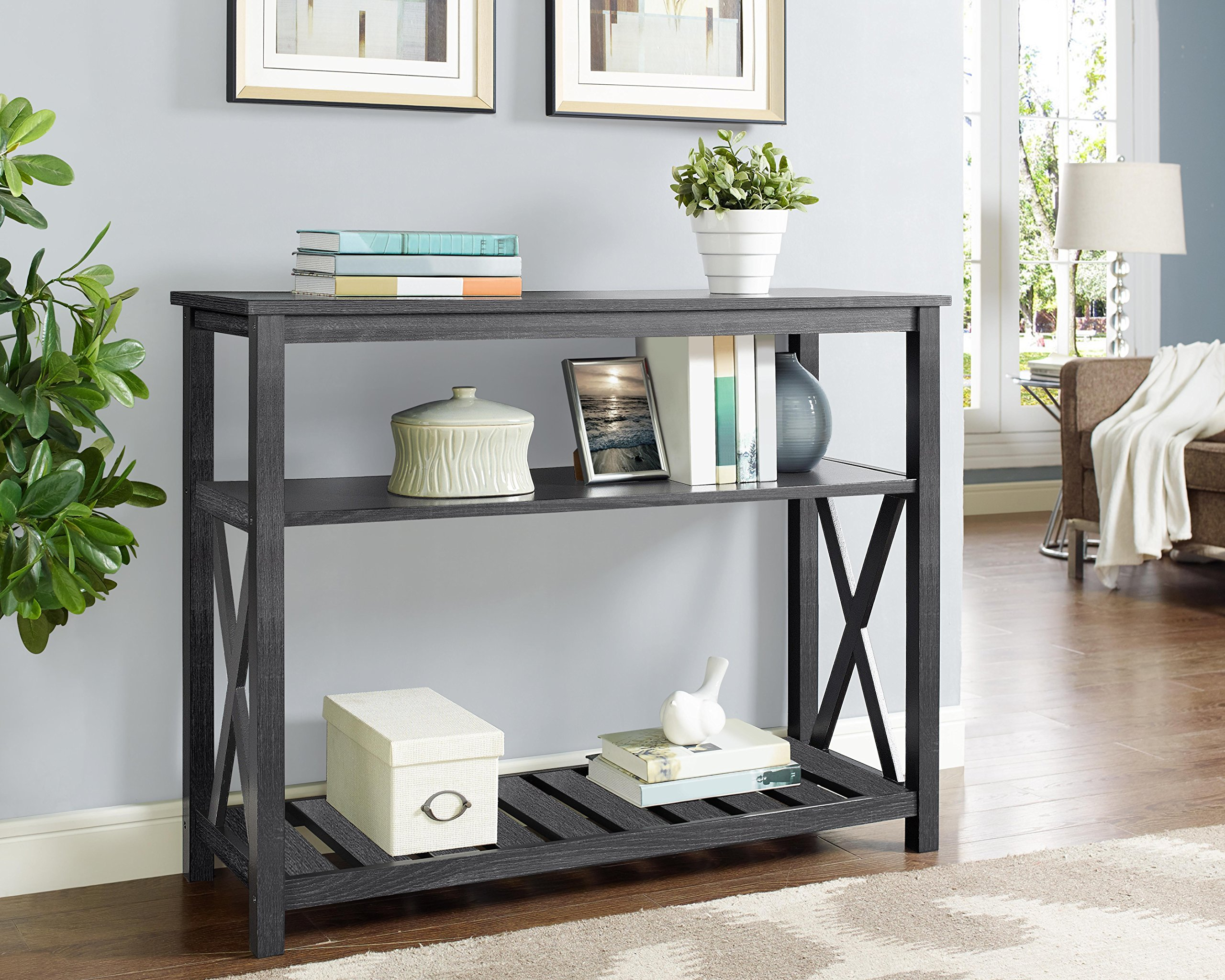 Weathered Grey Finish 3-Tier Occasional Console Sofa Table Bookshelf X-Design and Slats