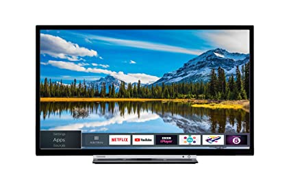 Toshiba 24W3863DB 24-Inch HD Ready Smart TV with Freeview Play -  Black/Silver (2018 Model)