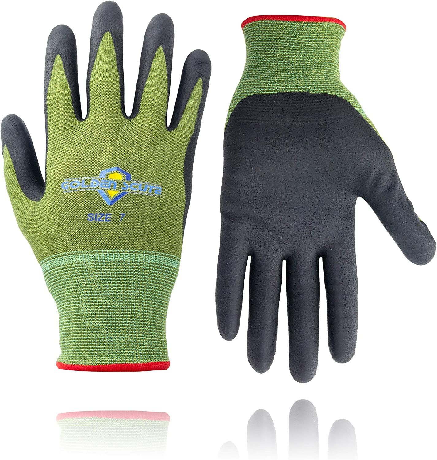 Golden Scute Men Women Bamboo Gardening Gloves with Nitrile Coating Outdoor Touchscreen Safety Working Gloves